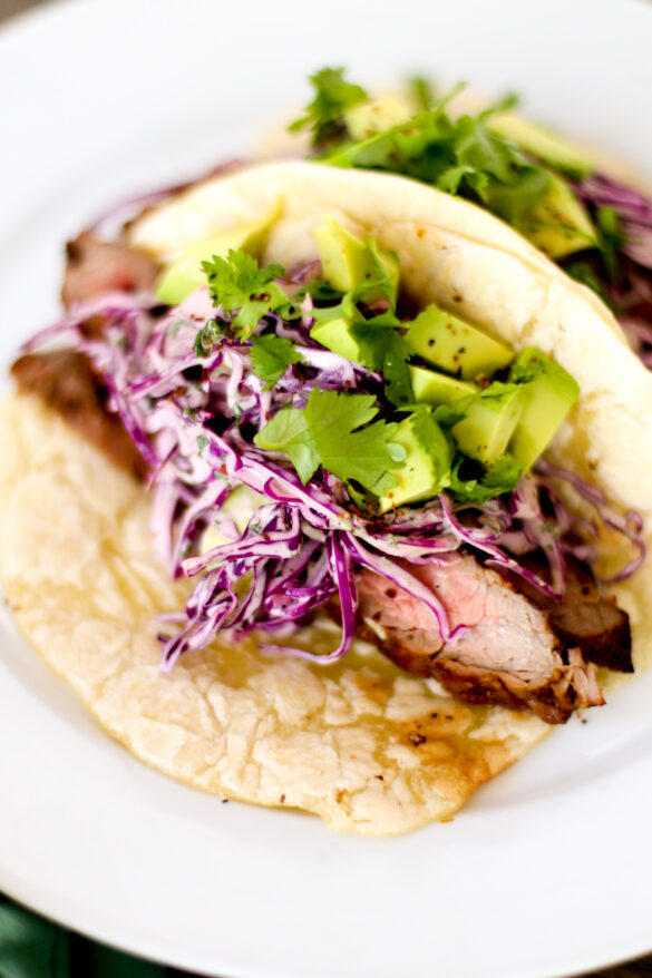 Steak Tacos with Creamy Avocado Slaw