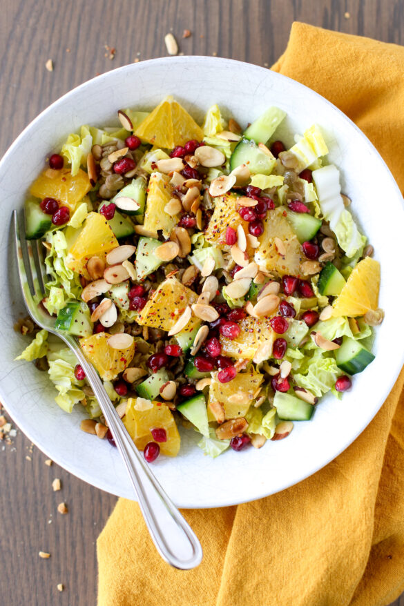 orange pomegranate lentil salad