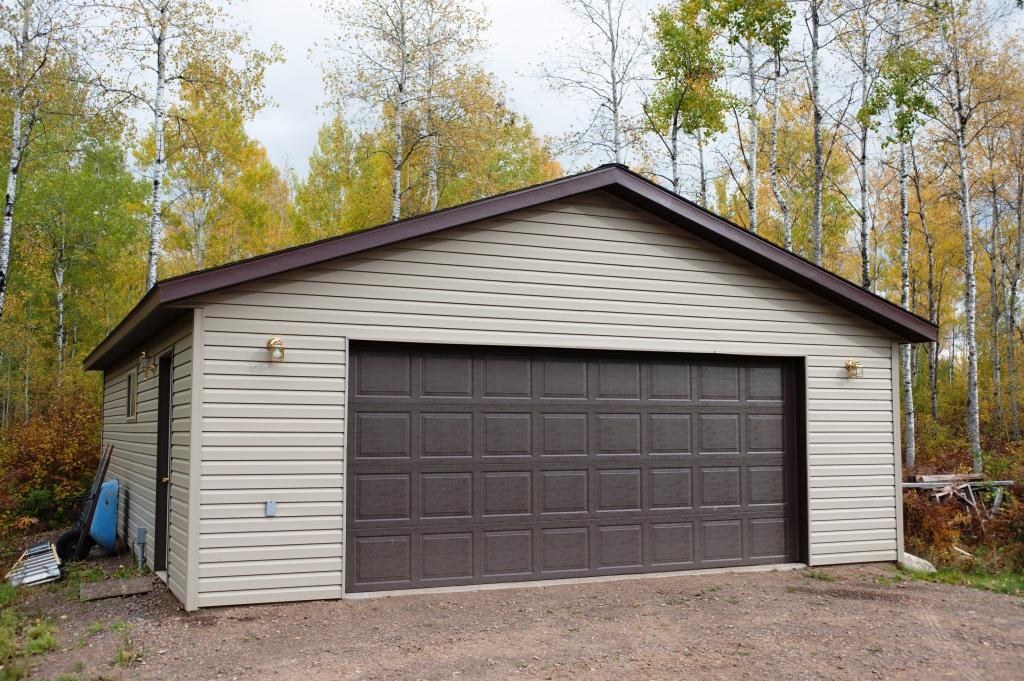 Beige & Brown 2 Car Garage