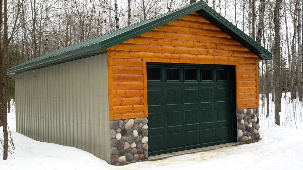 Vertical Steel Sided Garage with Log and Stone facade