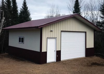 Upgrades Shown: Agricultural Steel Siding -Steel Roof -9' x 9' Garage Door -10' Wall 2' Overhangs