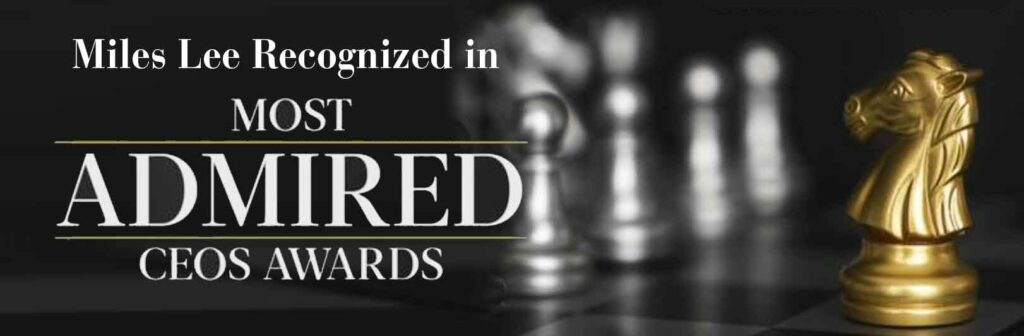 Miles Lee Banner with chess pieces for Most Admired CEO