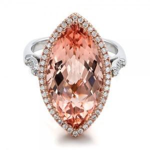 Marquise Morganite and Diamond Halo Ring
