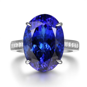 TanzaniteOne oval tanzanite ring with a diamond pavé band.