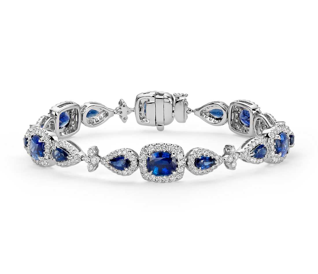 Cushion and Pear Shaped Blue Sapphire Diamond Halo Bracelet in 18k White Gold (8.33 ct. tw.)