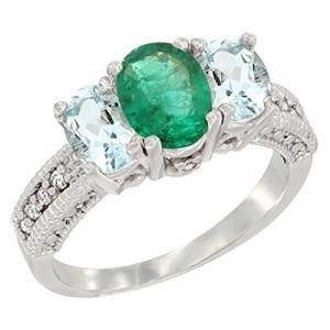10K White Gold Diamond Natural HQ Emerald Ring Oval 3-stone with Aquamarine