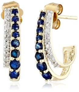 14k Gold, Gemstone, and Diamond J-Hoop Earrings