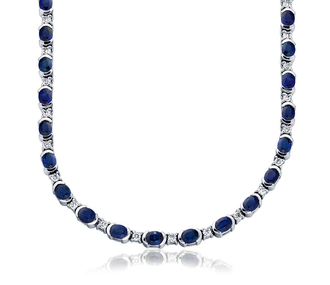 Sapphire and Diamond Necklace in 18k White Gold