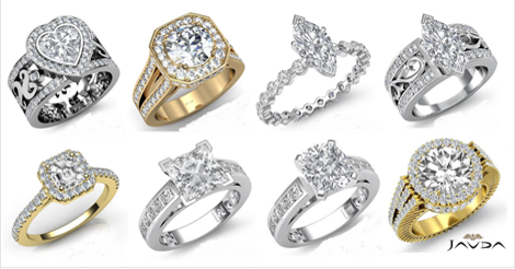 Diamond Rings at Javda Jewelry. High end custom diamond jewelry specializing in men and women engagement settings, wedding bands, diamond eternity rings, and bridal sets.