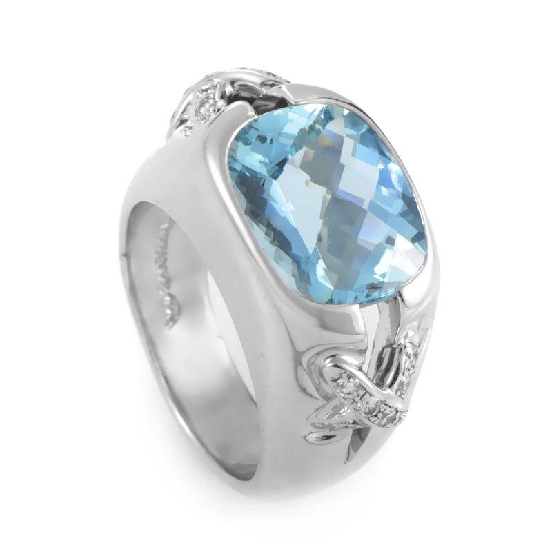 Tiffany & Co. Platinum Aquamarine & Diamond Ring