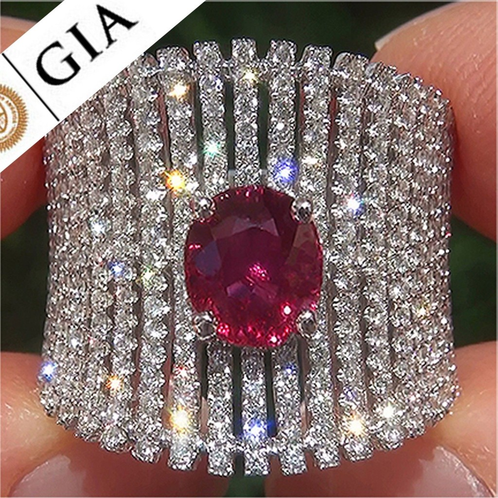 GIA 2.47 Ct Unheated Natural VS1 Ruby Diamond 18k White Gold Cocktail Ring