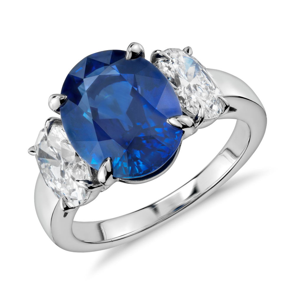 Oval Sapphire and Diamond Three-Stone Ring in Platinum