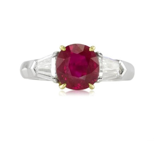 2.14ct Natural Ruby set in a Platinum and 18ky Gold Ring Setting with .61cts of diamonds.