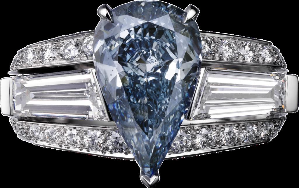 Cartier High Jewelry Platinum, blue diamond, diamonds ring