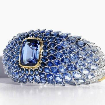 A Spectacular Blue Spinel, Sapphire and Diamond Bracelet in 18k gold by Tiffany and Co.