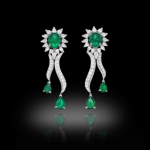 Colombian Emerald and Diamond Earrings