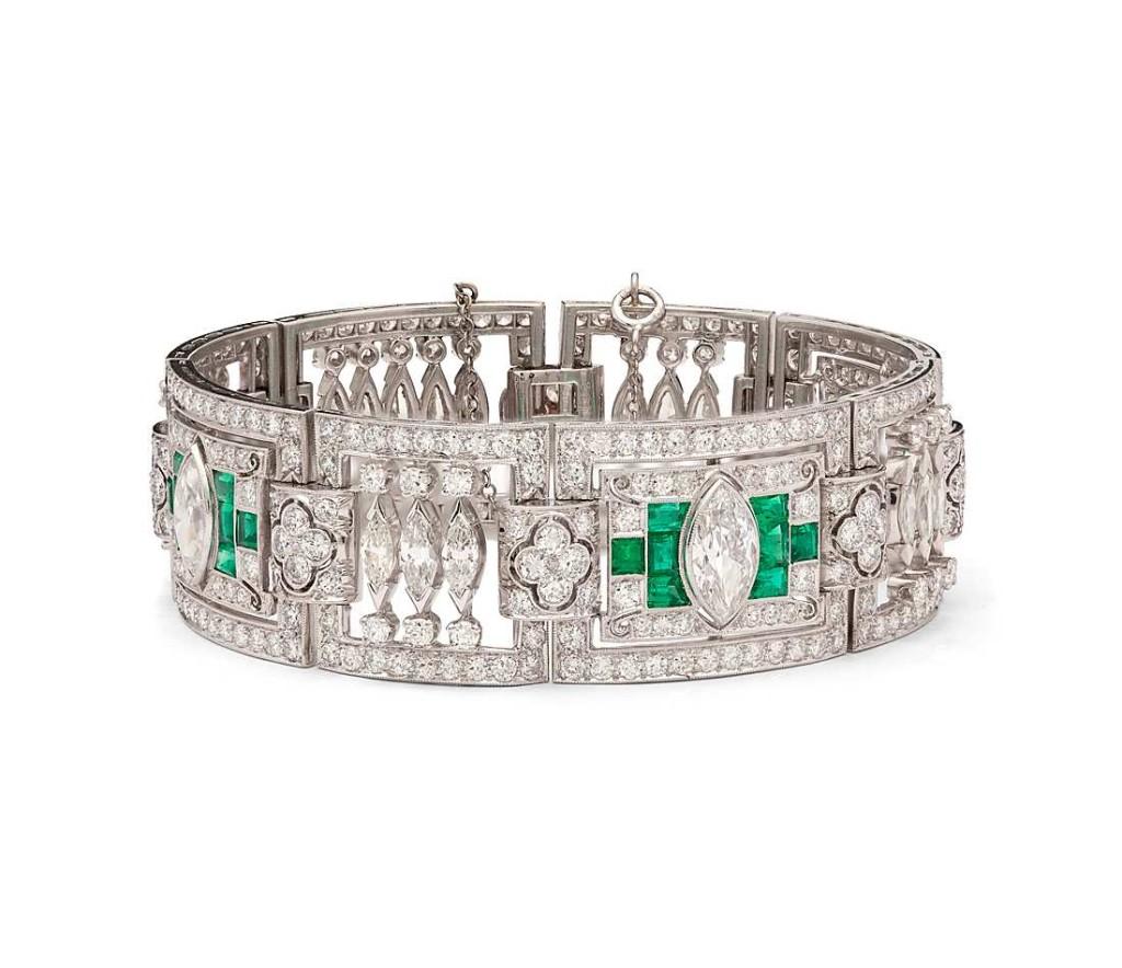Estate Art Deco Diamond and Emerald Bracelet in Platinum (20 ct. tw.)