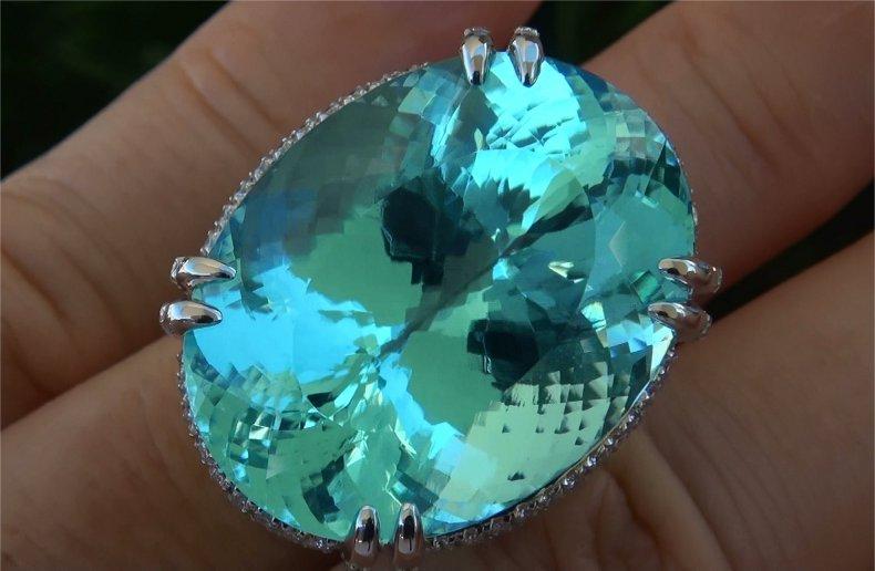 GIA 62.12 ct Flawless Paraiba Tourmaline & Diamond Ring