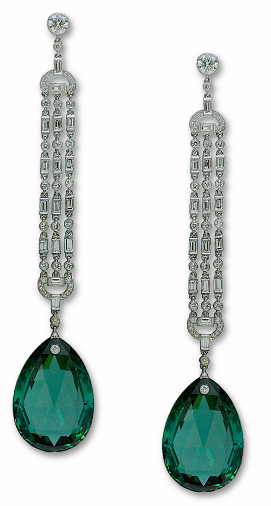 Platinum and Diamond Deco-Style Green Tourmaline Earrings from the Stephen Russell Collection.