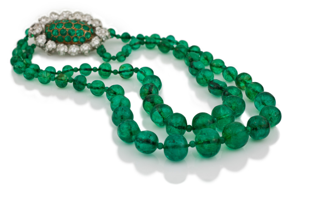 Magnificent Mughal-Style Emerald Bead Necklace.