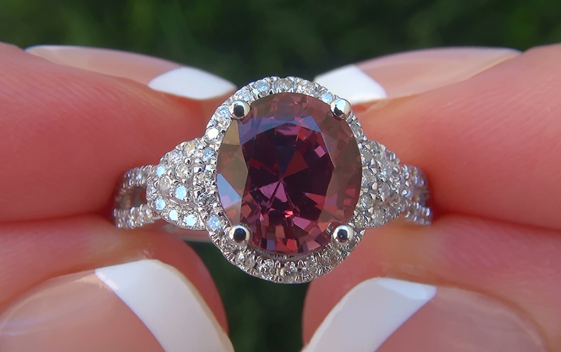GIA 3.40 ct UNHEATED Natural VVS Pink Spinel Diamond 14k White Gold Ring