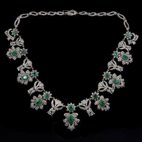 A magnificent vintage emerald and diamond necklace
