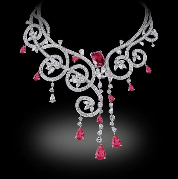 Volute Necklace 18K White Gold Rubellites and White diamonds