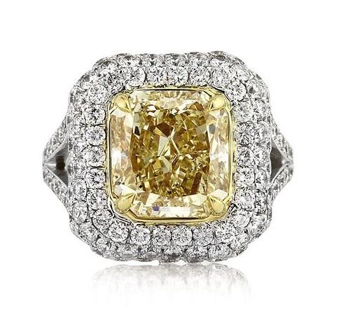 Mark Broumand 6.17ct Fancy Light Yellow Radiant Cut Diamond Engagement Ring