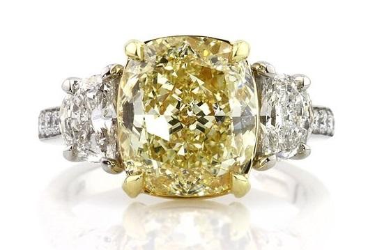 Mark Broumand 6.37ct Fancy Yellow Cushion Cut Diamond Engagement Ring