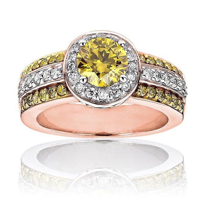 Luxurman Unique White Yellow Diamond Engagement Ring Halo Design 14k Gold 1.6 Ct.