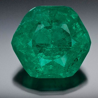 """Dubbed the """"Carolina Emperor,"""" the gem has been trimmed to 64.83 carats and is called the largest cut emerald ever found in North America. It is being compared to an emerald that once belonged to Catherine the Great of Russia."""