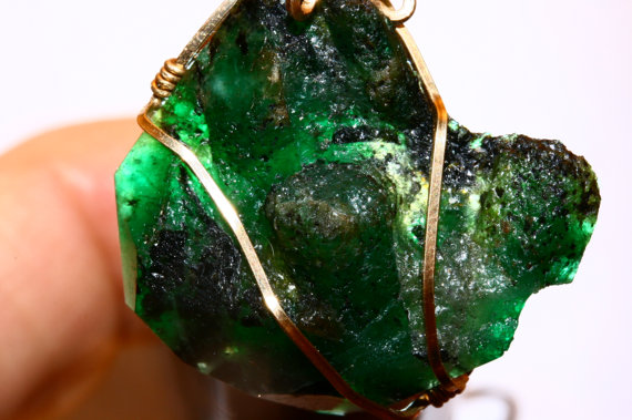 52 Carat Emerald Pendant Rare NC Gold Filled Wire Wrapped