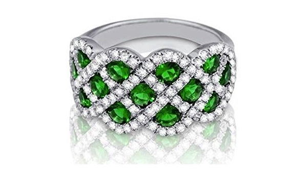 Gorgeous Emerald and Pave Diamond Band. Fancy Twist Pave Diamond and Round Green Emerald Scalloped Band Gem 1.30cttw Diamond .82cttw Width: 2.7 MM