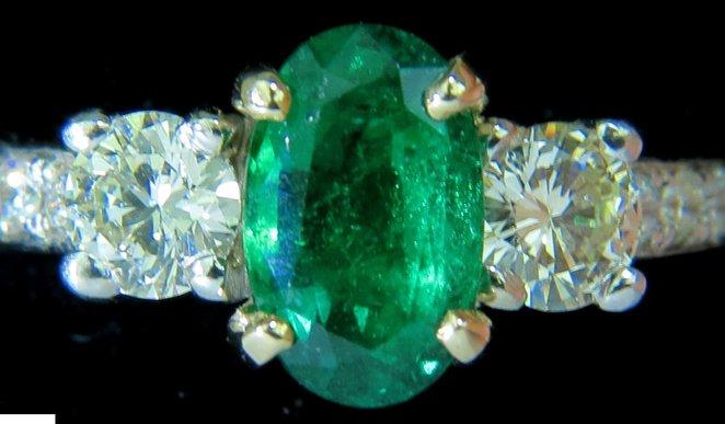 3.05CT NATURAL EMERALD DIAMOND RING ZAMBIA A+