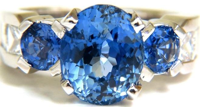 GIA NO HEAT 7.30CT NATURAL SAPPHIRE DIAMOND RING UNHEATED CORNFLOWER A+