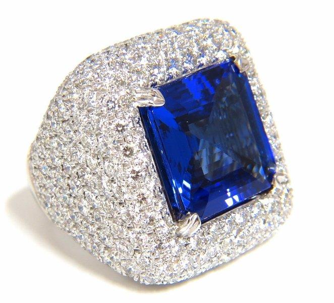 GIA 21.70 NATURAL ASSCHER CUT TANZANITE DIAMONDS RING 18KT RAISED DOME