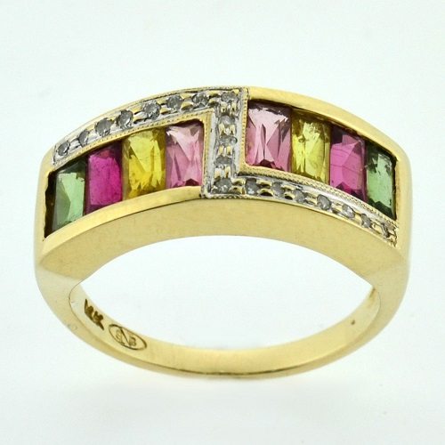 Estate 14K Gold 1.30tw Multi-Color Rainbow Tourmaline and Diamond ZigZag Gem Cocktail Ring