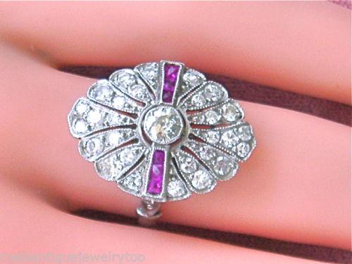 ANTIQUE ART DECO 1.15ct DIAMOND .18ct RUBY RING 1930