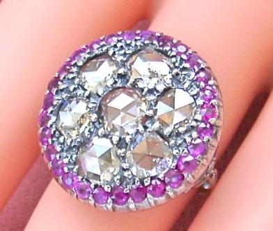 ANTIQUE VICTORIAN 5 CARAT ROSE DIAMOND RUBY RING c1880