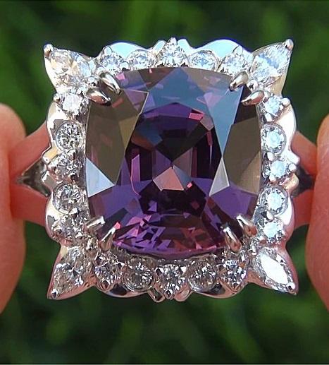 GIA Certified 6.70 ct VVS Purple Spinel Diamond PLATINUM Cocktail Estate Ring