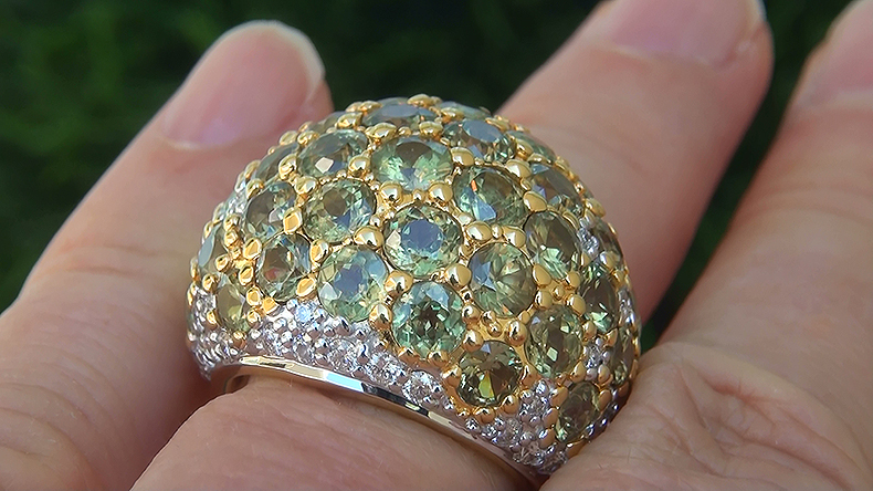 GIA 12.15 ct Natural FLASH Demantoid Garnet Diamond 18k Yellow Gold Ring