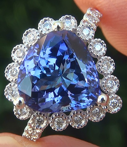 GIA Certified 4.31 ct VVS Natural Tanzanite Diamond 18k White Gold Estate Ring