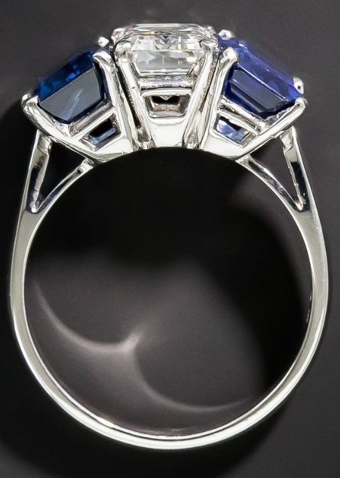 1.73 Carat Emerald-Cut Diamond and No Heat Sapphire Three-Stone Ring - GIA F VVS1