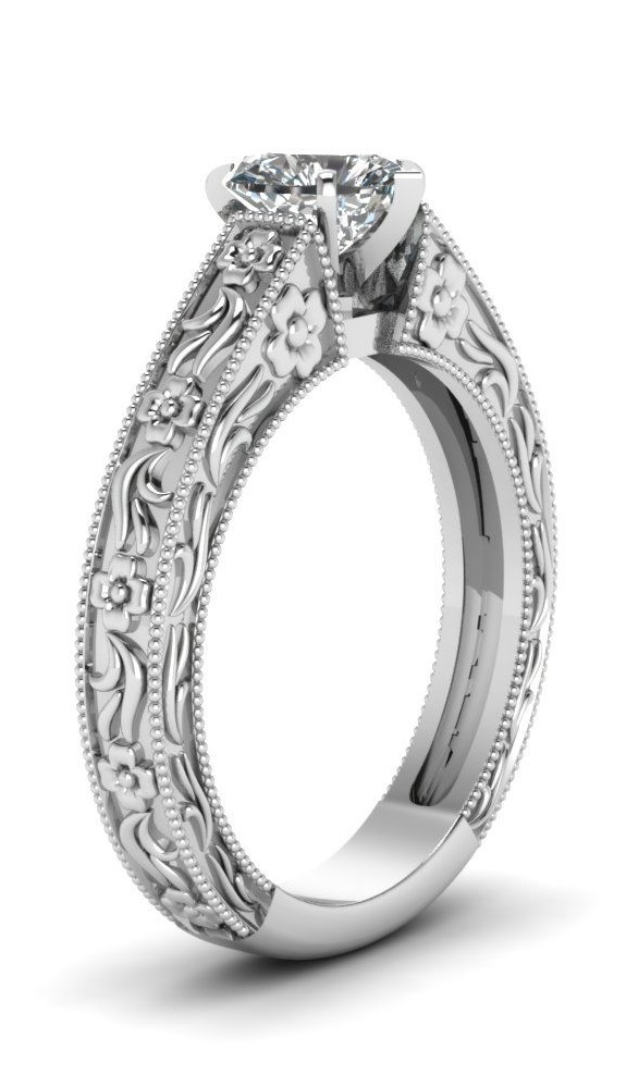 1/2 Carat Heart Shaped Diamond Solitaire Engagement Ring