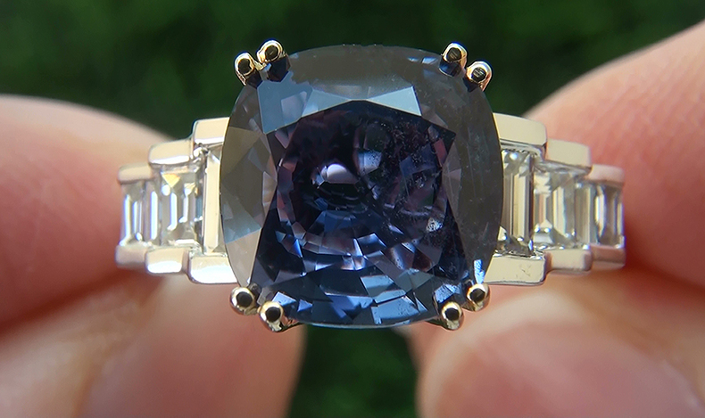 GIA 6.14 ct UNHEATED Natural VVS Color Change Sapphire Diamond 14k Gold Ring