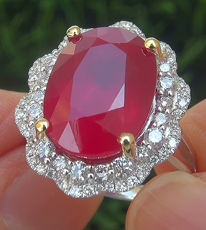 Certified 14.87 ct Natural Red Ruby Diamond 14k White & Yellow Gold Estate Ring