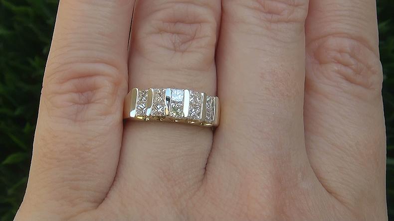 Estate 1.00 ct VS2/H Natural 10 Stone Diamond Anniversary 18k Yellow Gold Ring