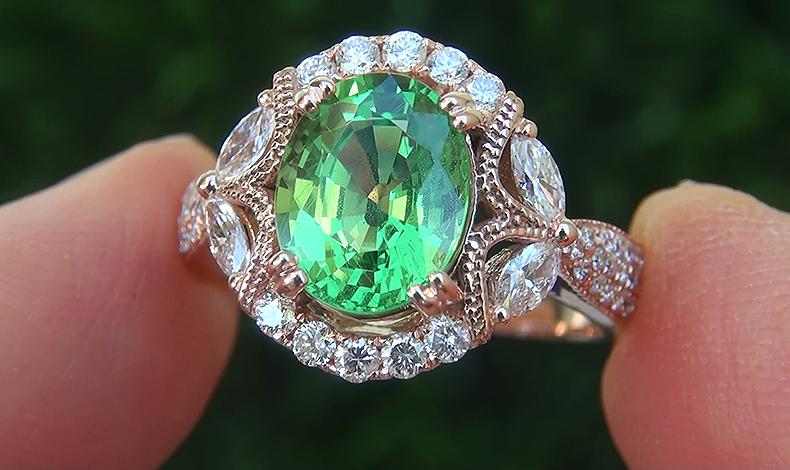 GIA 3.14 ct VS Natural Tsavorite Garnet Diamond 14k Rose Gold Estate Ring