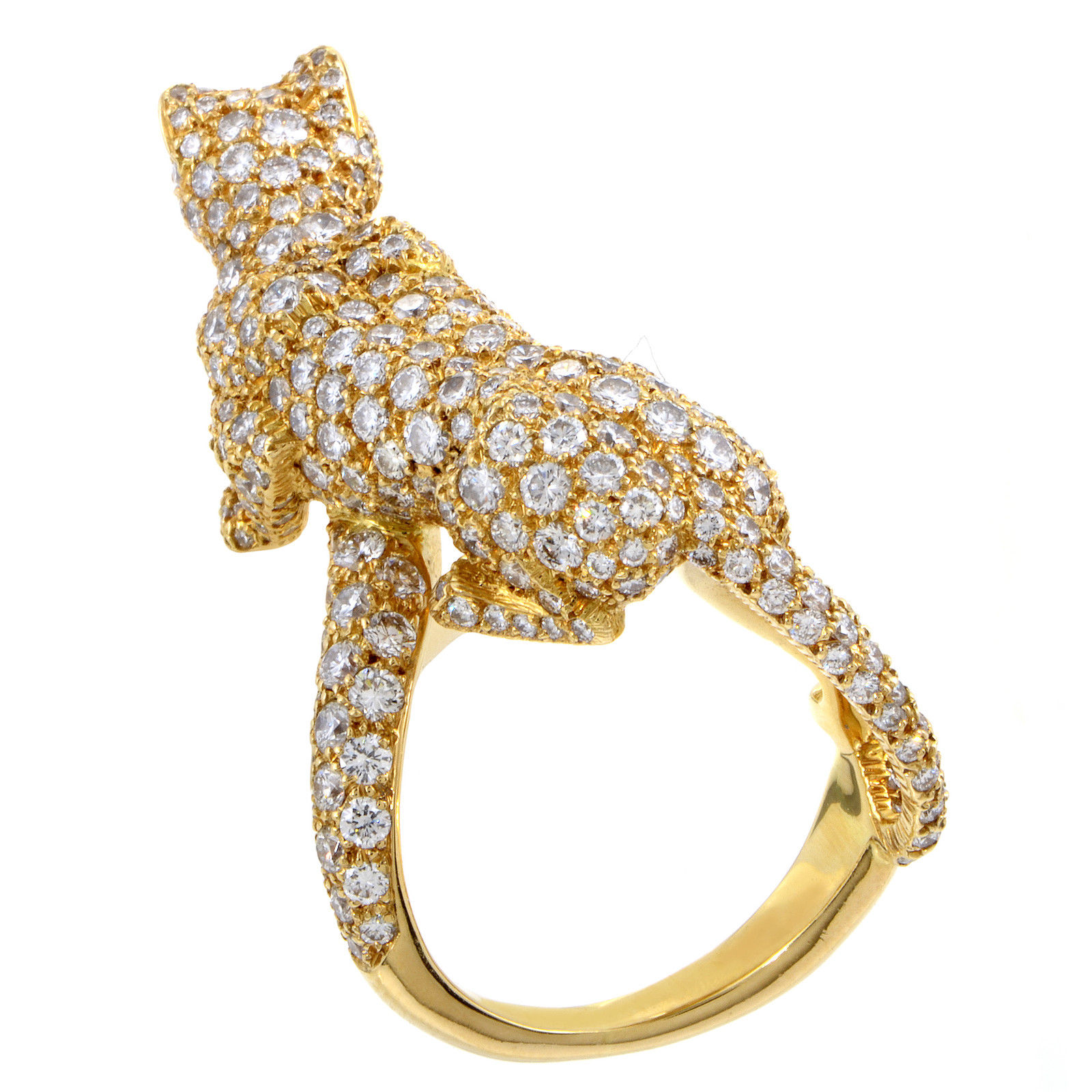 Cartier Panthere Women's 18K Yellow Gold Full Diamond Pave Ring