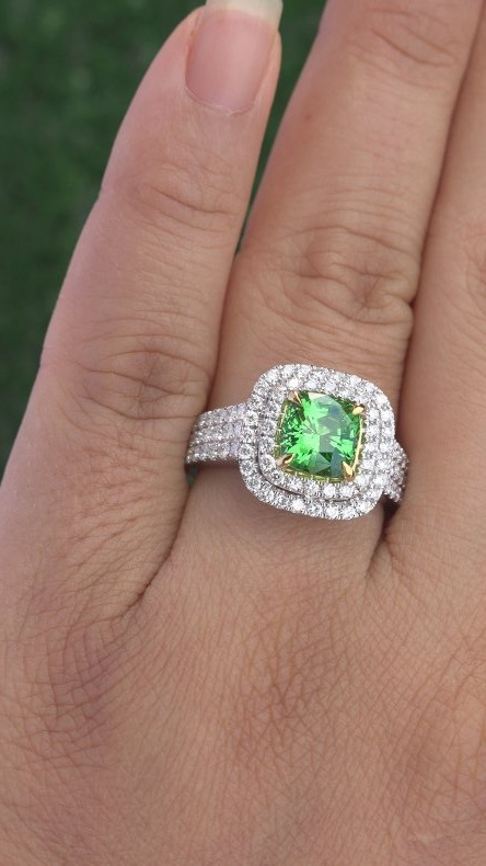"This is an exquisitely crafted ""one-of-a-kind"" Collector's Grade world class estate ring. It offers a gorgeous design with detailed craftsmanship adding to the amazing style. The unique ""TOP GEM QUALITY"" ring was made at the hands of a true jewelry master craftsman. This is the BEST & ONLY Near Flawless ""VS Clarity"" Natural Tsavorite Garnet gemstone ring up for auction.....a unique chance to own a very rare top quality gem."